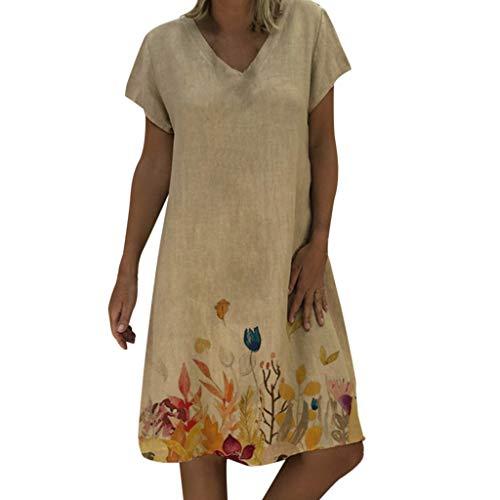Sunhusing Ladies Casual V-Neck Floral Print Short-Sleeve Dress Summer New Beach Wind Bohemian Dress Khaki
