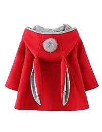 Baby Girl's Toddler Kids Fall Winter Cotton Coat Jacket Outwear Ear Hoodie Sweatshirt