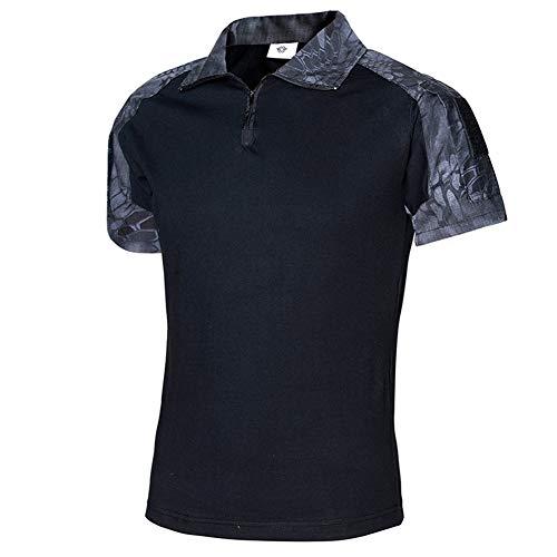 NEW VIEW Men's Tactical Combat Shirt Short Sleeve with Zipper Military Camo Shirt (07, US S=Tag L) ()