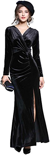 - Ababalaya Women's 90s Retro Velvet Long Bodycon Side Slit Formal Evening Gown,Black,M