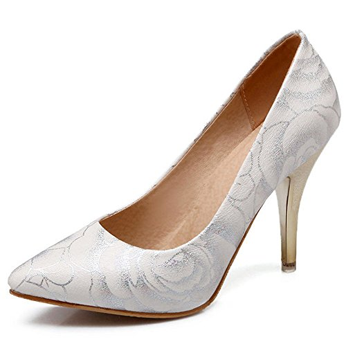 High Heels Leather Women Pumps Pointed Toe High Heels Shoes Woman Plus Size White
