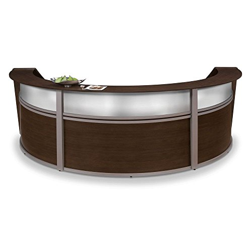 Marque Curved Three Piece Reception Station with Plexi - 142''W x 71''D Walnut Finish/Silver Accents Dimensions: 142''W x 71''D x 45.5''H Weight: 355 lbs. by OFM