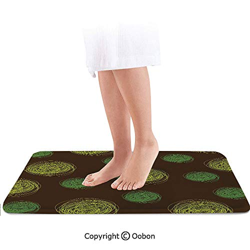 (Funny Bath Mat,Round Doodles Spots in Green Tones Spirals Swirled Big Funky Dots,Plush Bathroom Decor Mat with Non Slip Backing,32 X 20 Inches,Green Light Green Dark Brown)