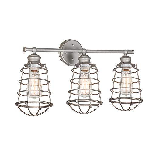 Collection Brushed Steel Pendant Lamps - Design House 519728 Ajax 3 Light Vanity Light, Galvanized Steel Finish