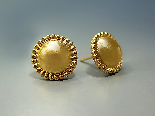 yellow stud round cubic gold earrings zirconia bezel cz set products grande