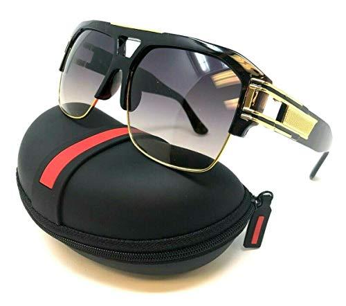 - Gazelle B-Boy Square Metal & Plastic Retro Aviator Sunglasses (Tortoise & Gold Frame w/Case, Brown Gradient)