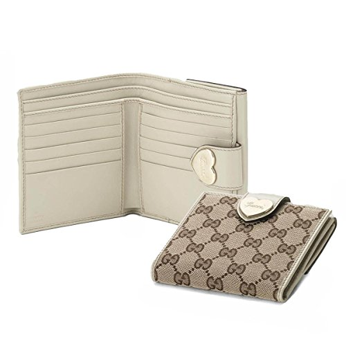 dbb26b817989 Gucci Original Canvas and White Leather Heart French Flap Wallet 203549 -  Buy Online in Oman. | Apparel Products in Oman - See Prices, Reviews and  Free ...