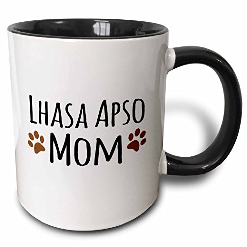 3dRose (mug_154153_4) Lhasa Apso Dog Mom - Doggie by breed - muddy brown paw prints - doggy lover - pet owner mama love - Two Tone Black Mug, 11oz