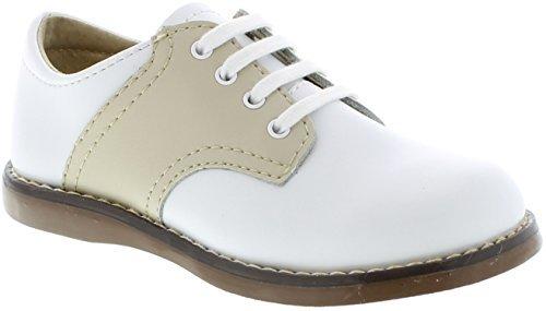 FOOTMATES Cheer Laceup Saddle White/Ecru - 8404/5 Toddler M/W