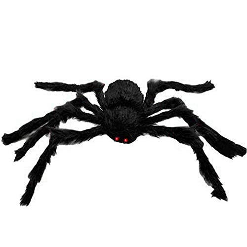 ZALU Giant Black Spider Halloween Spider Plush Scary Spider Toys Kids Halloween Party Decorations Haunted House Decor(1 Pack) (90cm)