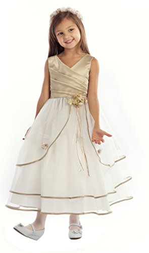 iGirlDress Taupe/Ivory Sleeveless Satin Bodice with Triple Tulle Layers Flower Girl Dress 2-16 (3-4)