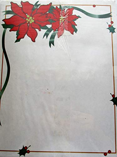 (Christmas Poinsettia Holiday Paper ... 25 sheets for Printer or Copier)