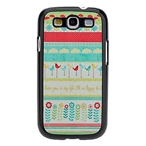HOR Flor de dibujos animados y Caso duro del patrón del pájaro para Samsung Galaxy S3 I9300