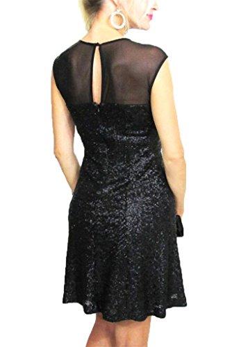 Dress Women's Mesh Illusion Klein Calvin Size Sleeveless A Sequin Black Evening Line 2 Zgqvxw5
