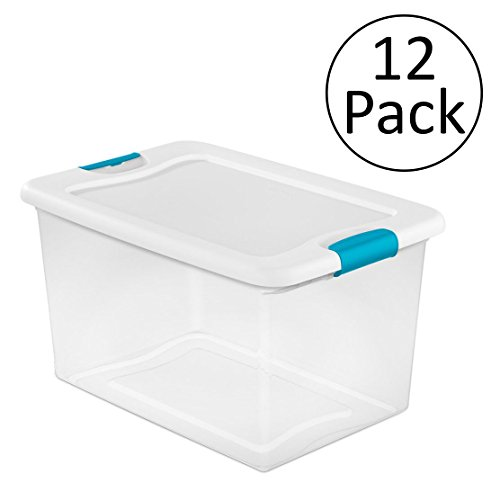 Sterilite 64 Quart Latching Plastic Storage Box, Clear w/Blue Latches (12 Pack)