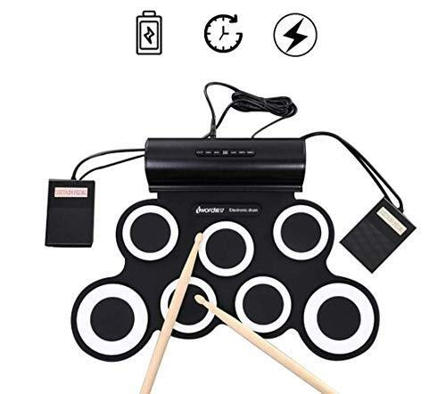 Electronic drum Set,Portable Drum, 7 Pads Portable Electronic Roll Up Drum Pad Kits Foldable Practice Instrument with 2 Foot Pedals and Drum Sticks by Electronic drum