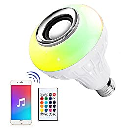 Ustellar LED Wireless Light Bulb Speaker, RGB Smart Music Bulb, E26 Base Color Changing with Remote Control for Party…