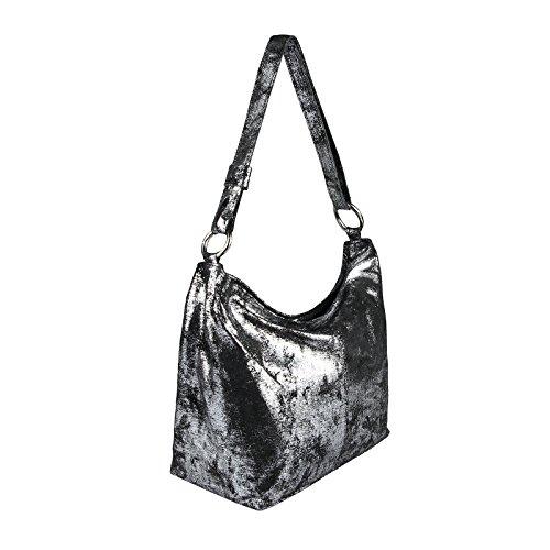 OBC Only-Beautiful-Couture Echt Leder Metallic Damen Tasche Shopper Hobo-Bags Schultertasche Umhängetasche Handtasche Henkeltasche Ledertasche Damentasche Silber Grau-silber 2A4Pxjq