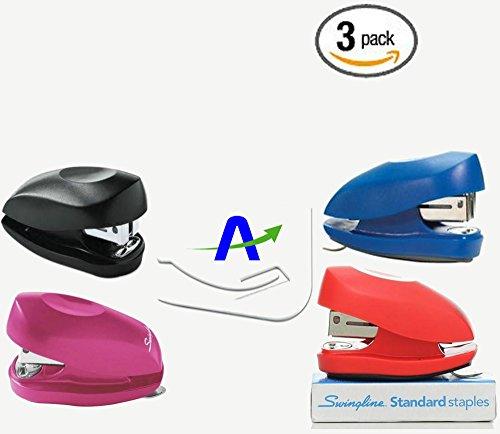 3 Pack Swingline Tot Mini Stapler, 12-Sheet Capacity, Assorted Colors, Includes Staples and Custom AdvantageOP Letter - Stapler Standard Acco