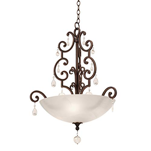 (Pendants 3 Light Fixtures with Vintage Iron Finish Hand Forged Wrought Iron/Crystal Material E12 80