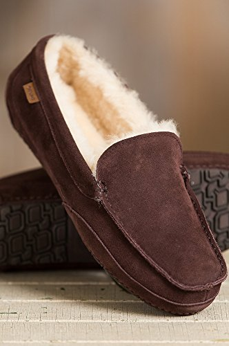 Mens Overland Austin-shearling Gevoerd Suede Slippers Chocolade