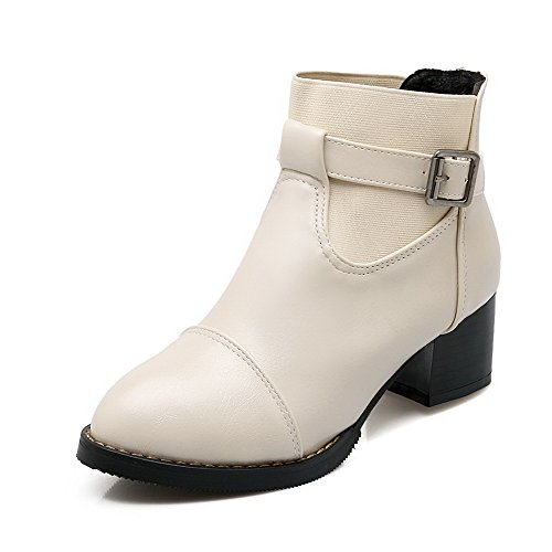 AmoonyFashion Womens Kitten Heels Soft Material Solid Buckle Round Closed Toe Boots Beige BZk2RxVZp