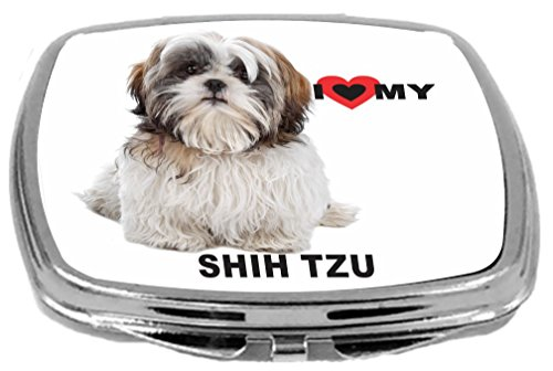 Rikki Knight I Love My White Brown Shih Tzu Dog Design Multifunctional Messenger Bag - School Bag - Laptop Bag - with Padded Insert for School or Work - Includes Matching Compact Mirror by Rikki Knight (Image #1)