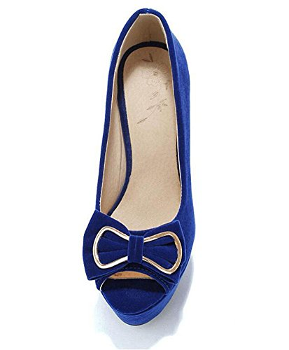 Alto del correa del del arco Bombas pío dedo del las del del de del la GLTER Sandalias ante la pie tobillo Talón de zapatos blue plataforma de mujeres impermeables wPHxtqO
