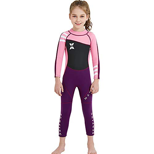 - YAMTHR Kids Wetsuit 2.5mm Premium Neoprene Shorty Full Swimsuit One Piece UV Protection for Toddler Baby Children and Girls Boys (Girl's Fullsuit Suit 2.5 mm/Pink, Kids L Size)