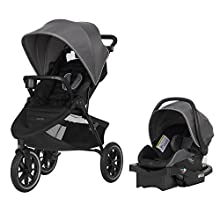 """Evenflo Folio3 Stroll & Jog Travel System w/LiteMax 35 Infant Car Seat, Crossover Versatility, Ultra-Compact, Self-Standing Folding Design, 12"""" Air-Filled Tires, Front Wheel Swivel Lock, Avenue Gray"""