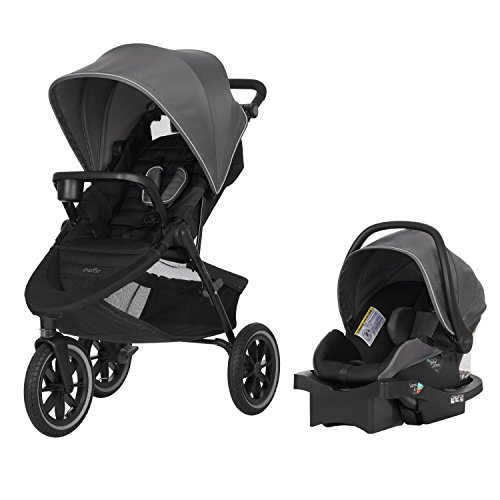 Evenflo Folio3 Stroll & Jog Travel System w/LiteMax 35 Infant Car Seat, Crossover Versatility, Ultra-Compact, Self-Standing Folding Design, 12