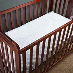 QuickZip Easy Change Crib Sheet With Wraparound Total Security Base, Gray Dot