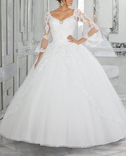 DreHouse Bridal White Beaded Ball 2017 Dresses Size Plus Gowns Lace Tulle Princess Wedding Women's rwnxCq84r