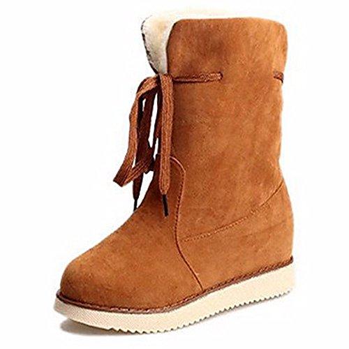 Chaussures Caoutchouc Bottes Piscine ZHUDJ pour Bottes Rond Bourgogne Brun D'hiver Brown Bout pour Femmes Neige Noir Dark Foncé dtSwSq0