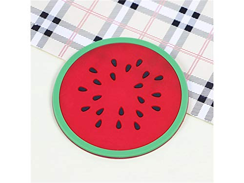 Miniature Eco-Friendly Round Non-Slip Holder Anti-hot Mat Cute Color Fruits Pattern Drink Silica Gel Cup Cushion(Watermelon) for Ornament