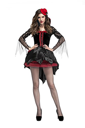 Sexy Blood Vampiress Adult Womens Costumes (SS Queen Women Halloween Midnight Vampiress Vampire Cosplay Costume (set-1))