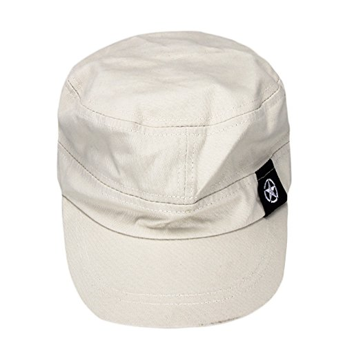 Youmymine Men Women Flat Roof Military Hat Unisex Outdoor Cadet Patrol Bush Sun Hat Baseball Field Cap (A, Gray) (Raffia Flats)