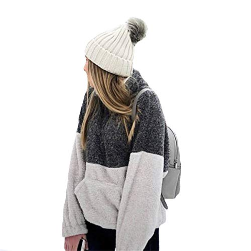 Cerniera Patchwork Con Inverno Cappotto Pullover Felpa Donna Tenere Caldo Collo Lunga Grigio Manica Alto Top Giacca Mescara xZ1OCTqwZ