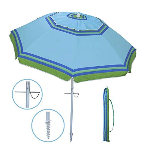 YATIO-7ft Beach Umbrella with Sand Anchor Sand Screw, Tilt, Windproof, Sun Protection SPF/UPF100+, Blue/Green Stripe