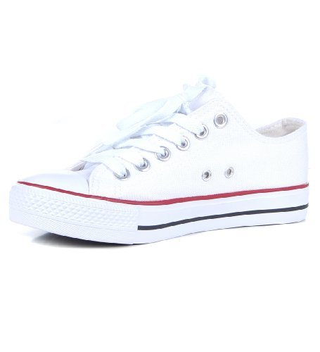 canvas low top plimsole lace up rubber toe trainers dROe5