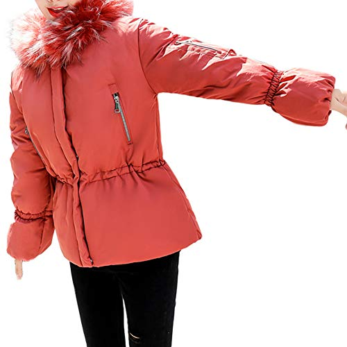 - ZYooh Women Winter Warm Coat Faux Fur Hooded Thick Slim Fit Jacket Short Overcoat with Belt(Red,L)