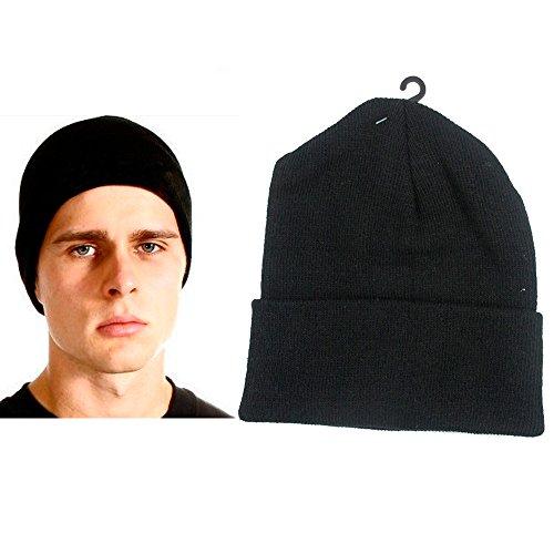 Plain Beanie Ski Cap Skull Hat Warm Solid Color Winter Cuff New Black Beany Men Cap Cuff Ski Hat