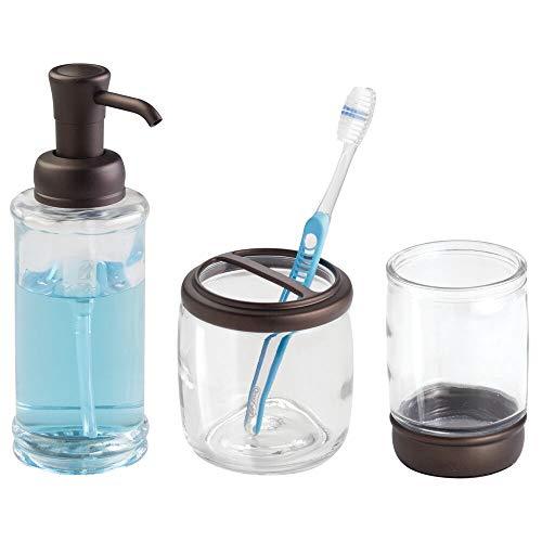mDesign Glass Soap Dispenser Pump, Toothbrush Holder, Tumbler for Bathroom Vanities - Set of 3, Clear/Bronze