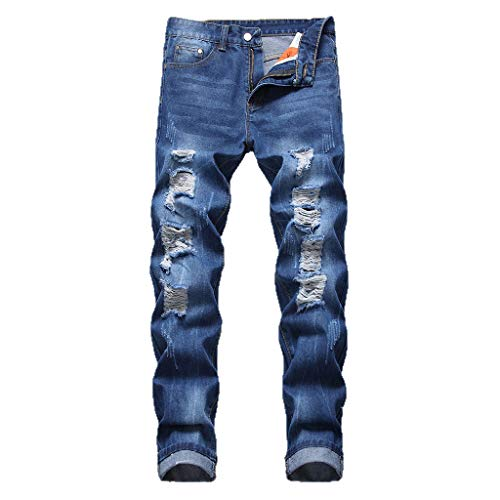 iHPH7 Jeans Pants Men Relaxed Straight-Fit Lightweight Carpenter Jean Fashion Men's Casual Personality Printing Slim Fit Denim Jeans Pants 34 Dark Blue - Glory Black Motorcycle Boots