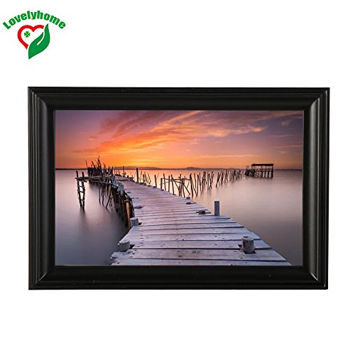 Linear Classic Wooden Picture Frame, 5x7 inch, Black Color, Family Photo Frames, Pine Material