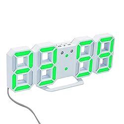 Wall Clock, Inkach Modern Digital LED Table Desk Night Wall Clock Alarm Watch 24 or 12 Hour Display (D)