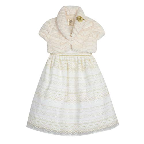 Laura Ashley London Little and Toddler Girls' Lace Party Dress with Cozy Shrug, White/Gold, 2T -