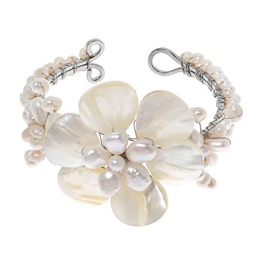 Lily Elegance White Shell Mother of Pearl Bracelet-Cultured Freshwater Pearl Beaded Cuff Mother Of Pearl White Bracelet