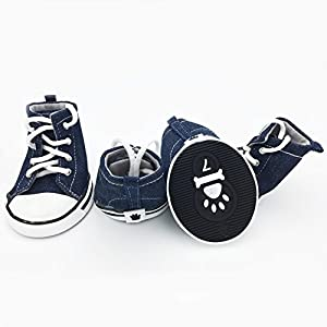 PetFavorites Cute Puppy Pet Dog Sporty Shoes Lace up Blue Canvas Dog Boots Nonslip Dog Booties Sneaker for large Doggies, 4 Pcs in One Pack. (Size 7, Blue)