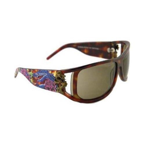 Ed Hardy Snake and Roses Sunglasses EHS-046 Tortoise Brown